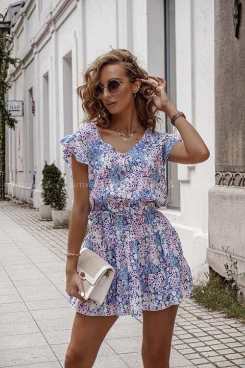 Sukienka w kwiatowy lilowy print