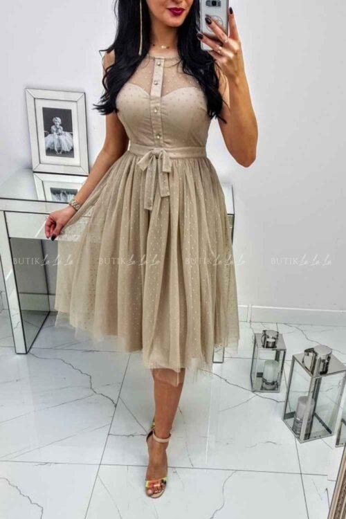 bezowa sukienka na wesele