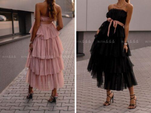sukienka rozkloszowana z falbanami