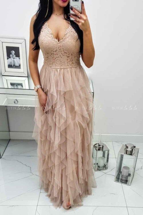 sukienka tiulowa na wesele maxi